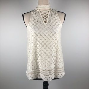 Fire Los Angeles Lace Eyelet sleeveless to…
